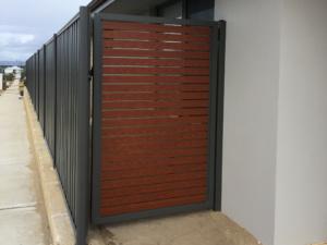 Welded frame single gate-Wooden Grain Slats-9